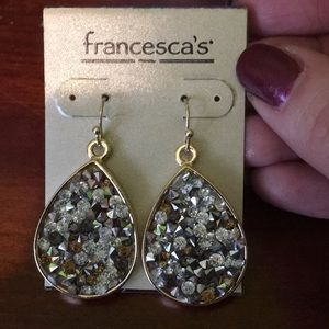 Sparkly gold crystal filled dangly earrings